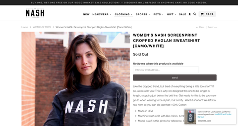 The NASH collection uses Back In Stock alerts to let customers know when sold out products are available for purchase.